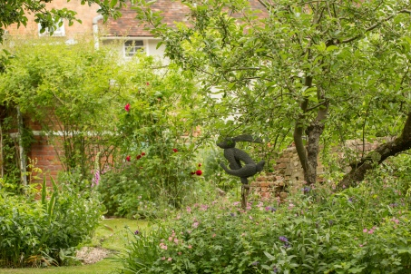 Garden View with Rabbit Statue