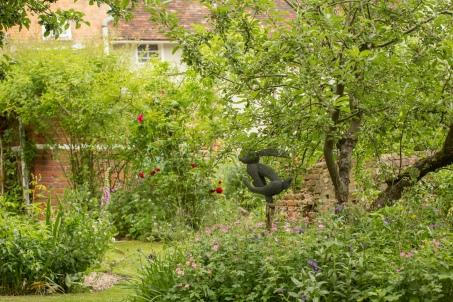 Garden View with Rabbit Statue