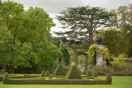 View across Parterre of Walled Garden Gates and Cedar tree